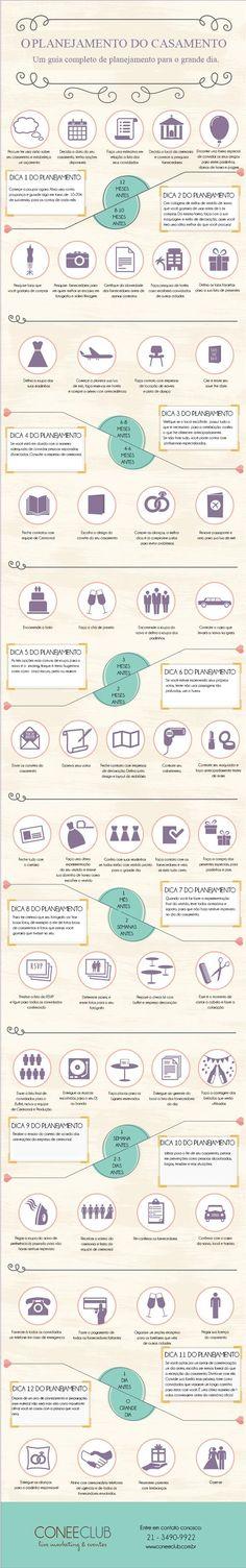 INFOGRÁFICO: Planejament Completo do seu Casamento. Baixe Grátis! http://materiais.coneeclub.com.br/infografico-planejando-seu-casamento: