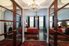 Master suite with mirrored closets #hoboken