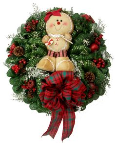 Gingerbread Deco Mesh Holiday Wreath designed by Karen B., A.C. Moore Erie, PA #christmas #wreath #decomesh