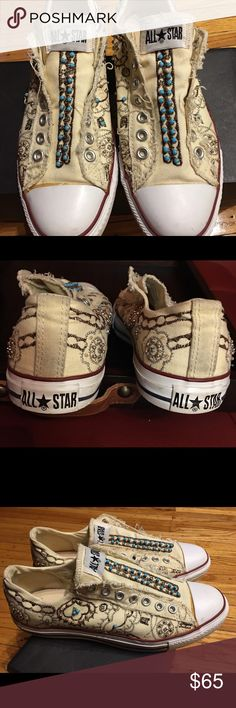 Converse Chuck Slipon Jeweled Cream Converses that are dazzled with glitz and jewels. Excellent condition worn three times Converse Shoes Sneakers
