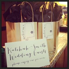 welcome bags at the hotel's front desk for your wedding guests