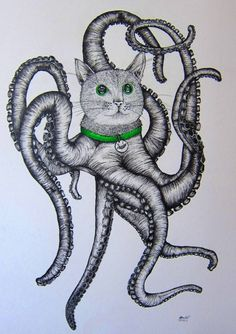 Octo-pussy, Ink drawing by Colleen Brewer | Artfinder