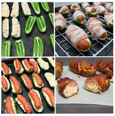 Sausage Stuffed Bacon Wrapped Jalapeno Poppers - Find Fun Art Projects to Do at Home and Arts and Crafts Ideas I Love Food, Good Food, Fun Food, Yummy Snacks, Yummy Food, Tasty, Appetizer Recipes, Appetizers, Appetizer Ideas