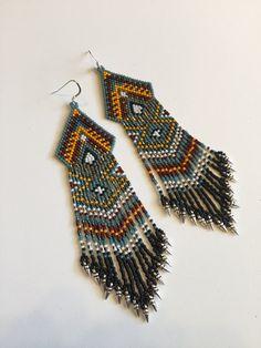 Teal and Orange Tribal Beaded Fringe Dangle Earrings by Calisi