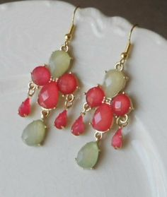 Mint/Coral Summer Wedding Earrings    Mint and Watermelon Earrings by AdornmentsbyWendi on Etsy, $16.00