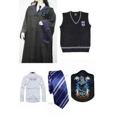 Harry Potter Ravenclaw Cosplay Robe Vest Shirt Necktie Badge Ravenclaw 64dde3d70