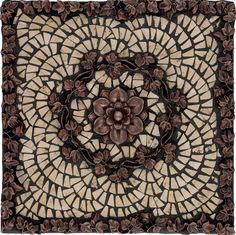 18x18 noce marble fleur dis lis mosaic medallion design backsplash