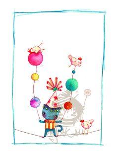 Watercolor Cat Circus Illustration Original Balance by MajeakAnn