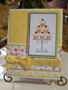 cheerful yellow birthday card ... Crazy for Cupcakes ... like the use of the birthday words embossing folder ... good design ... Crystal Effects on frosting ... Stickles on the cherries ... lovely coloring ...