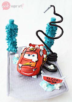 Lightning McQueen Car Wash Cake Topper