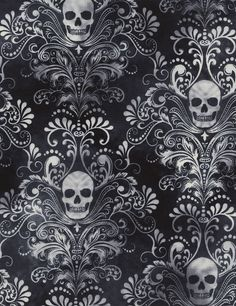 Designerstoffe USA -  Jersey,  Skull, Damask, schwarz, 140cm breit - ein Designerstück von ABC-Designerin bei DaWanda