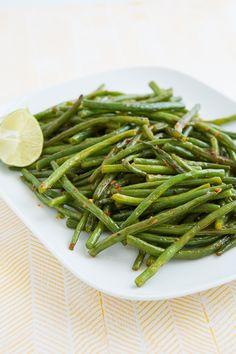 Chili Garlic Green Beans (roasted not stir fried)