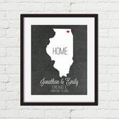 Personalized Wedding Gift  State Map  Illinois by ThreeGypsySouls