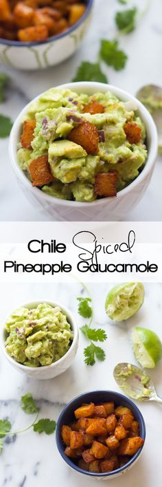 A sweet and spicy take on our favorite Mexican appetizer! Chile Spiced Pineapple Guacamole is easy to make and a great way to shake up your next fiesta! #Mexican #Guacamole #Glutenfree #Pineapple