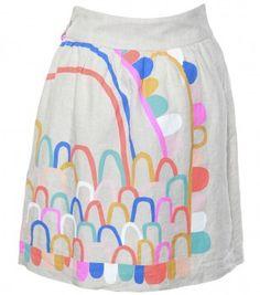 Gorman. Rainbow Castle Linen skirt $149