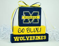 Michigan Wolverines WoodenBlock Shelf Sitter Stack by WoodenBlock