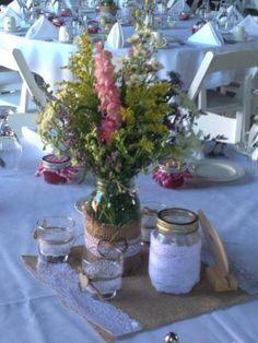 Wild flowers in mason jars