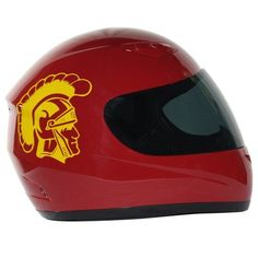 Motorcycle Helmet - University of Southern California Trojans - Full Face / Faced DOT approved Limited Edition Merchandise - Officially Licensed Collegiate Custom Logo Helmets - College Biker Riding Gear - One of a kind product - Ride with USC Trojan Pride by FanRider - Extra Small - Red. Gloss finish with licensed collegiate logos. Advanced lightweight durable shell and fully vented through-out shell. Easy detachable front for easy access. Comes with both a tinted and clear shield. Quick...