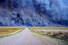 A wildfire that forced authorities to temporarily close a section of U.S. Highway 34 east of Yuma County, Colo. This wildfire caused at least a half-million dollars' worth of damage on Colorado's plains was sparked by a power line snapped by strong winds.