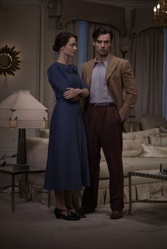 Maeve Dermody as Vera Claythorne and Aidan Turner as Philip Lombard in And Then There Were None (TV Mini-Series 2016)