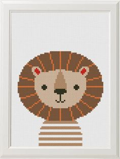quilting like crazy Cross Stitch Baby, Cross Stitch Animals, Loewe Bild 3, Embroidery Patterns, Cross Stitch Patterns, Hand Embroidery, Lion Pictures, Jungle Animals, Le Point