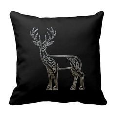 Silver And Black Deer Celtic Style Knot Pillow