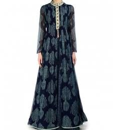 Buy Navy blue printed georgette semi stitched salwar with dupatta anarkali-salwar-kameez online