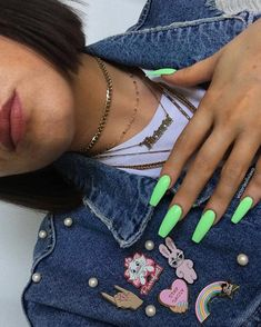 Neon nails - the flagship and colorful trend of summer 2019 - neon green neon nails coffin nails - Neon Nails, Holographic Nails, Gradient Nails, Neon Green Nails, Pink Nails, Best Acrylic Nails, Acrylic Nail Designs, Solid Color Nails, Nail Colors