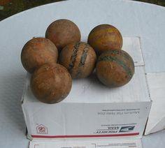 Vintage set of 6 Antique Wooden Croquet Balls Primitive Decor Bowl Fillers