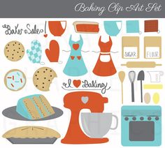 Baking Clip Art Digital Illustration by GraceHarveyGraphics, $4.99