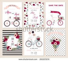 Collection of 6 cute card templates. Wedding, marriage, save the date, baby shower, bridal, birthday, Valentine's day. Stylish simple design. Vector illustration. - stock vector