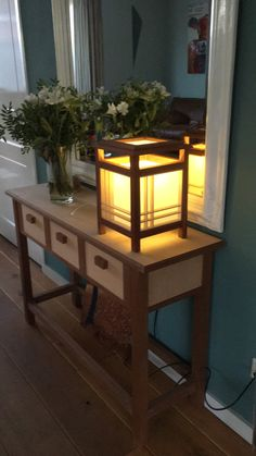 First attempt Craftsman Lamps, Craftsman Lighting, Craftsman Furniture, Japanese Lighting, Japanese Lamps, Wooden Lanterns, Wooden Lamp, Diy Furniture Easy, Furniture Projects