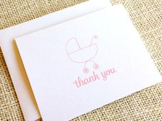 Items similar to Baby Shower Thank You Cards - Set of 10 Baby Girl Thank You Cards with Hand Drawn Baby Carriage Design in Pink or Purple - Baby Stationery on Etsy Baby Shower Thank You Cards, Happy Design, Baby Carriage, Keep It Simple, New Baby Gifts, Hand Drawn, New Baby Products, How To Draw Hands, Lavender