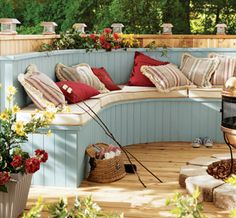 We could build this seating area in our outside patio against the fence
