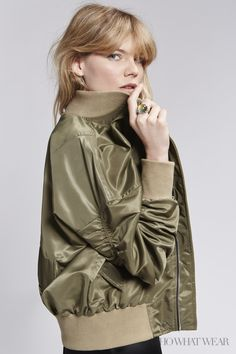 Emma Greenwell for Who What Wear - Fear of God Fourth Collection Bomber, Alexander Wang dress, Pamela Love Dagger Earrings and Eddie Borgo Dahlia Mood Ring. Nylon Bomber Jacket, Elements Of Style, 2016 Trends, Green Silk, Fashion Shoot, Who What Wear, Thing 1, Celebs, Street Style