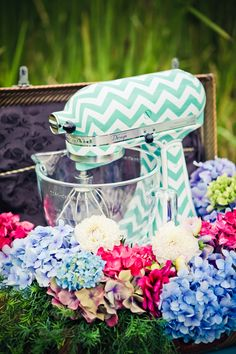 Turquoise Chevron Kitchen Aid. Maybe going a little too far...who am I kidding, I love it!