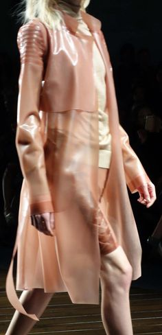 Latex trench coat and skirt in soft transparent pink latex with applique detailing LFW AW 2013 Vin and Omi X Felder Felder collaboration, V MAGAZINE photo Yana Kamps