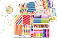 Planner Sticker Weekly Kit Happy Rainbow for your Erin Condren Life Planner…