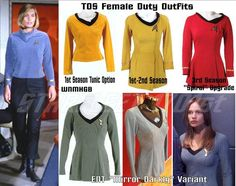 Reference photos for Star Trek TOS women's uniform. (Plus pattern discussion.)