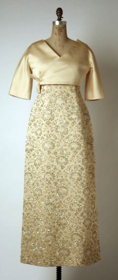 Evening dress, House of Givenchy, Designer Hubert de Givenchy, early 1960s, French, silk and rhinestones