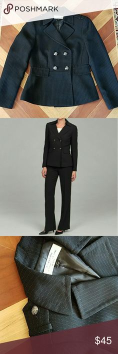 """Tahari Blazer Tahari Arthur S Levine black with white dot pinstriped blazer. Can be worn as outerwear. Very cute silver button detail on front and shoulders. Peplum style jacket with faux pockets. No wear, in perfect condition.   Matching pants available. 29"""" inseam. I can make a bundle listing if interested. Tahari Jackets & Coats Blazers"""