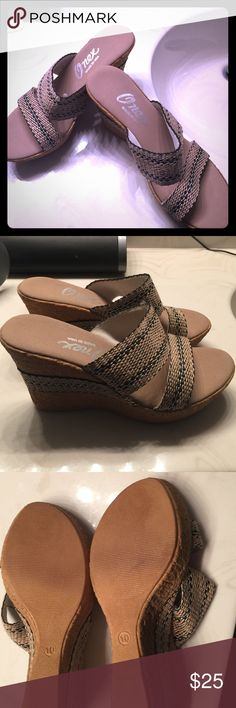 Onex tan and black wedges These are SO COMFORTABLE! For those of you that are familiar with the Onex brand, you know what I'm talking about! I've worn these only once despite the comfort, I have way too many shoes! Onex Shoes Wedges