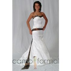 """A little wedding inspiration for the hunting or country camo bride. It's the Camo Wedding Dress! I know my little niece would love this and I bet she would tell me """"Everything is Camo, Aunt Carla! Camo Wedding Dresses, Country Wedding Dresses, Wedding Gowns, Prom Dresses, Mossy Oak Wedding, Camouflage Wedding, Camo Dress, Mothers Dresses, Mermaid Gown"""