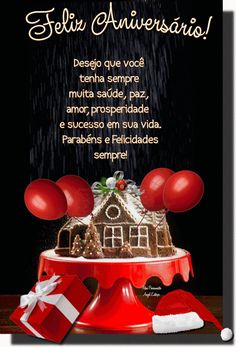 Foto com animação Happy Birthday Images, Happy Birthday Wishes, Christmas Bulbs, Congratulations, Messages, Holiday Decor, Foods, Anniversary Quotes, Portuguese Quotes