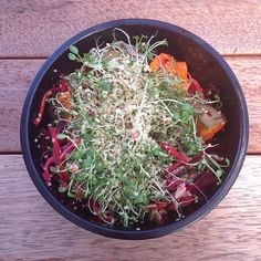 Raw till 4 dinner idea. Simple salad of shredded beets and carrots with a pomegranate dressing, arugula, baked pumpkin cubes, energy sprouts and hemp hearts Sprouts are incredibly nutritious, with high levels of Vitamin B complex, C, A, E & K. There is around 100 x more enzymes in sprouts than in raw fruit & vegetables, making them exceptionally easy to digest & very alkalising. Raw till four 801010