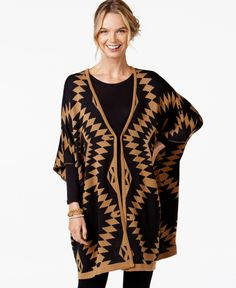Ny Collection Oversize Aztec-Print Poncho Cardigan