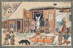 Village winter sausages, painted by Josef Lada,Czech painter The Good Soldier Svejk, Grandma Moses, Henri Rousseau, Naive Art, Book Illustration, Dog Art, Statues, Illustrators, Modern Art