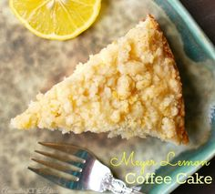 Meyer Lemon Coffee Cake with Streusel Topping - Meyer Lemons are just a bit sweeter and more flavorful than a regular lemon. And perfect for a coffee cake! My friends have all flipped for this one. I get lots of requests to make this cake. Meyer Lemon Recipes, Lemon Desserts, Delicious Desserts, Lemon Cakes, Yummy Food, Brunch Recipes, Sweet Recipes, Breakfast Recipes, Breakfast Dishes