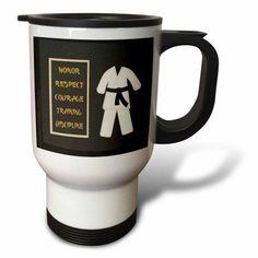 3dRose Karate Karategi Uniform Black Belt Honor Respect Courage Train Discipline, Travel Mug, 14oz, Stainless Steel