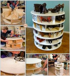 The best DIY projects & DIY ideas and tutorials: sewing, paper craft, DIY. DIY Furniture Plans & Tutorials : This DIY Lazy Susan Shoe Rack is Just Awesome for Shoe Storage -Read Shoe Storage Rack, Diy Shoe Rack, Shoe Caddy, Shoe Hanger, Shoe Racks, Diy Shoe Organizer, Shoe Organiser, Shoe Shelves, Shoe Storage Round